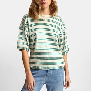 RVCA tee green cream stripe medium 90s style